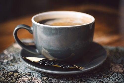 negative space black coffee cup breakfast